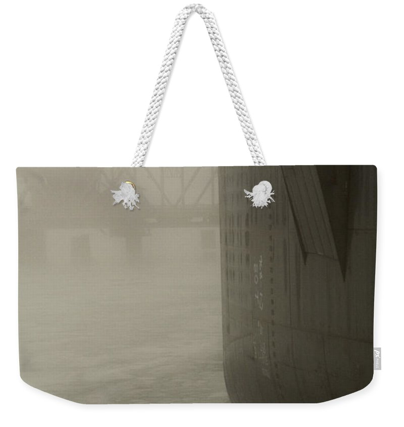 Water Weekender Tote Bag featuring the photograph Bridge And Barge by Tim Nyberg