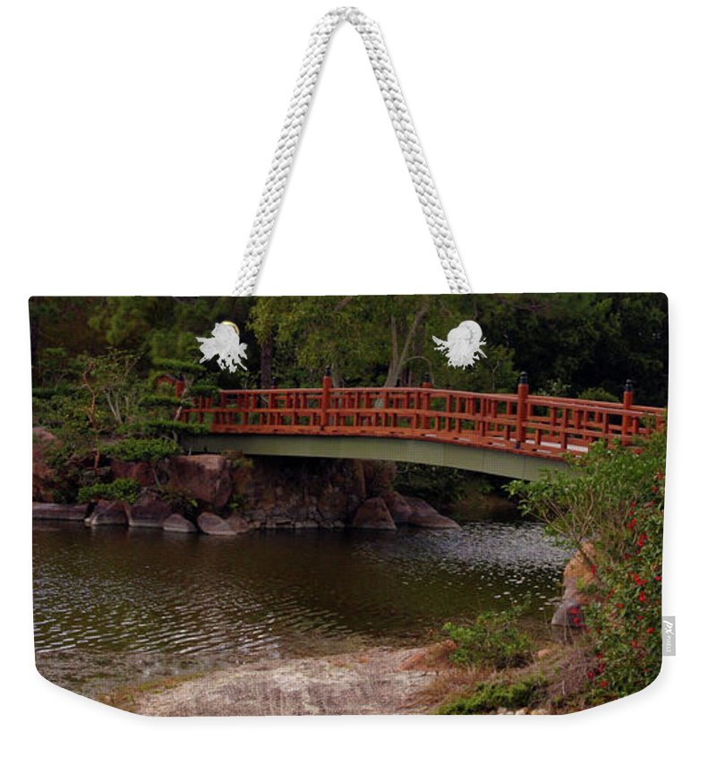 Bridge Weekender Tote Bag featuring the photograph Bridge At Morikami by Bruce Gaynor
