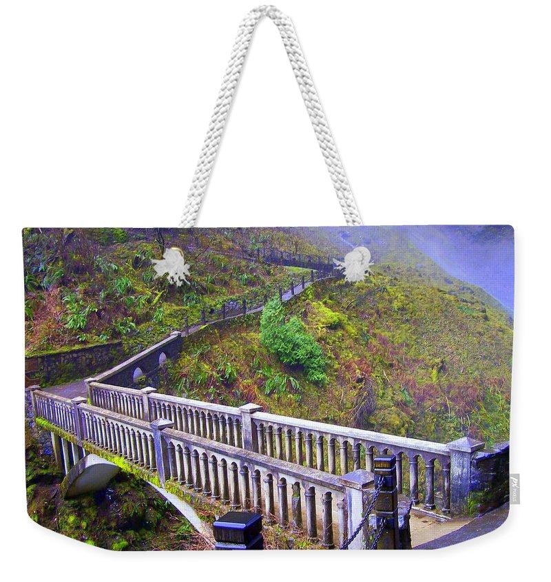 Bridge Weekender Tote Bag featuring the photograph Bridge at Multnomah Falls by Lisa Rose Musselwhite