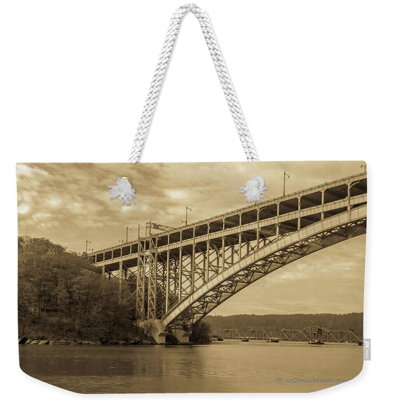 Bridge Weekender Tote Bag featuring the photograph Bridge From The Train by Danny Baum