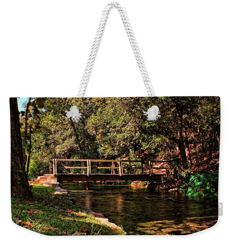 New Braunfels Weekender Tote Bag featuring the photograph Bridge Of Harmony by Judy Vincent