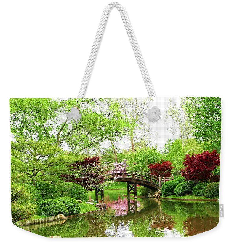 Print On Canvas Weekender Tote Bag featuring the painting Bridge Over Calm Waters by Susanna Katherine