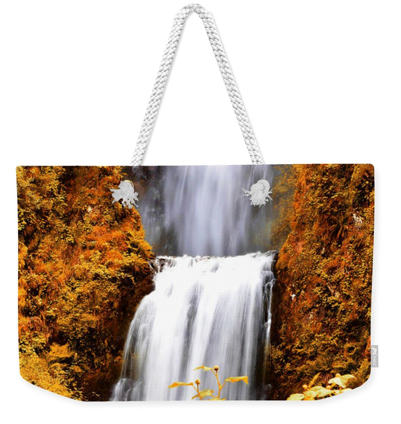 Multnomah Falls Weekender Tote Bag featuring the photograph Bridge Over Cascading Waters by Athena Mckinzie