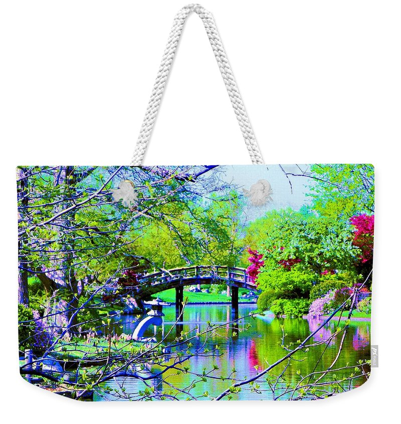 Canvas Print Weekender Tote Bag featuring the painting Bridge Over Peaceful Waters by Susanna Katherine