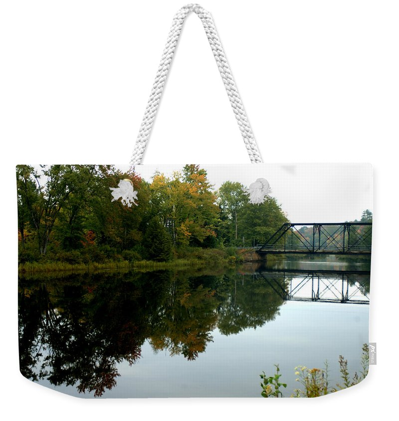 Landscape Weekender Tote Bag featuring the photograph Bridge Over Still Waters by Jerry Deroo