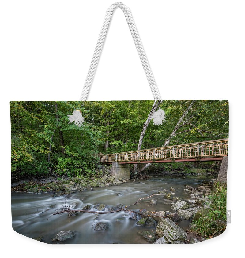 Bridge Weekender Tote Bag featuring the photograph Bridge Over The Pike River by Thomas Visintainer