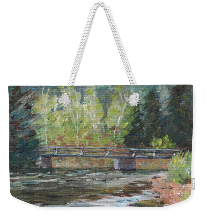 Plein Air Weekender Tote Bag featuring the painting Bridge Over The Poudre by Mary Benke
