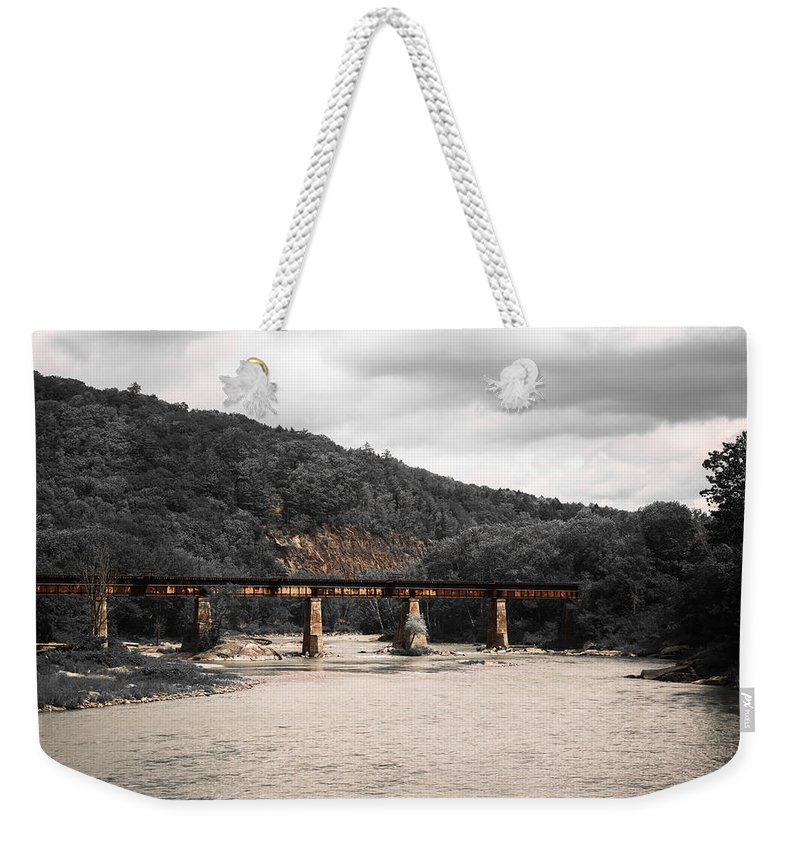 Railroad Bridge Weekender Tote Bag featuring the photograph Bridge Over The Winooski by Sherman Perry