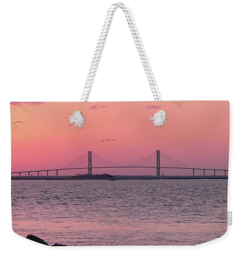Lanier Weekender Tote Bag featuring the photograph Bridge Sunset by Al Powell Photography USA