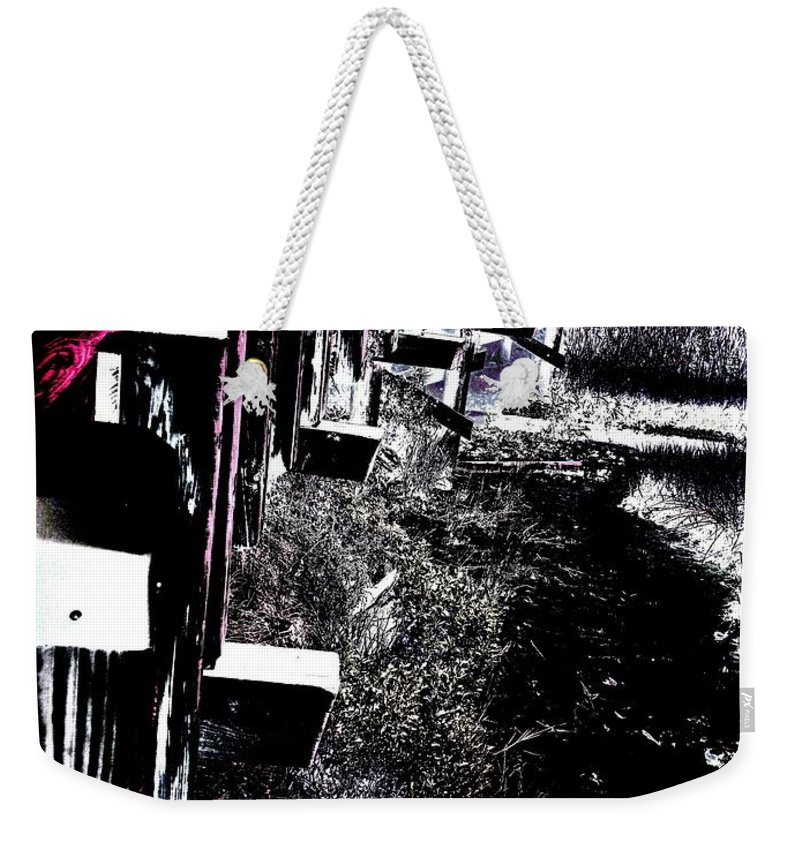 Bridge To Unknown Found In Nc Landscape Weekender Tote Bag featuring the pyrography Bridge To Unknown by Thomas Dudas