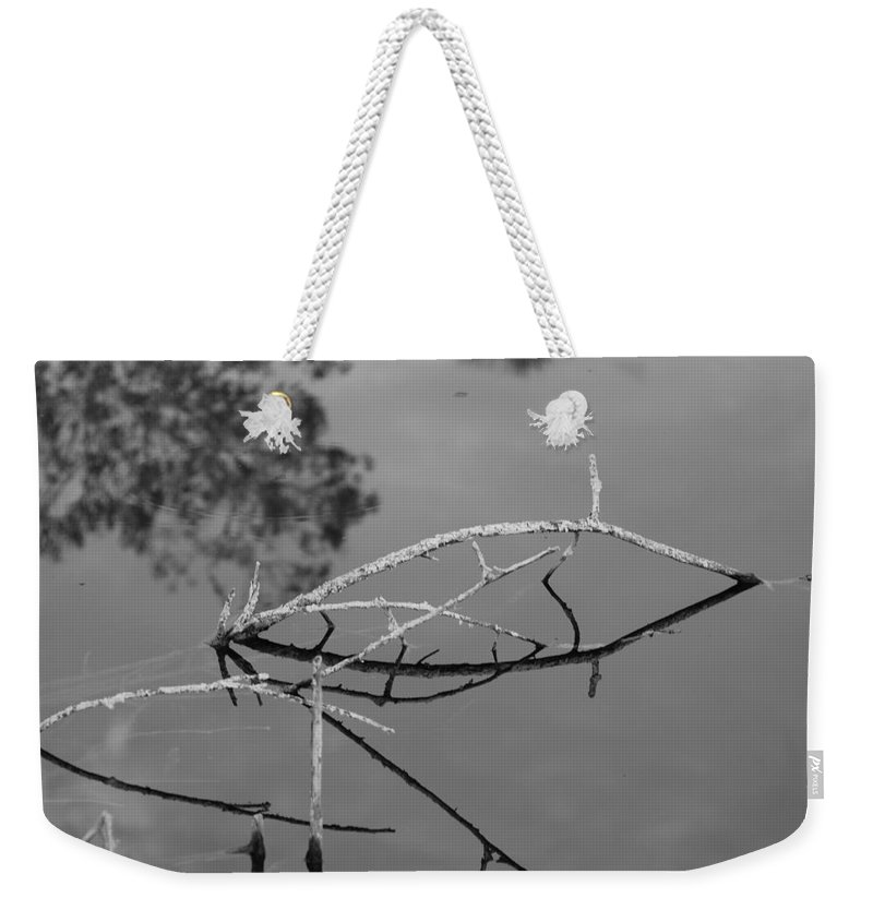 Black And White Weekender Tote Bag featuring the photograph Bridges In Wood by Rob Hans