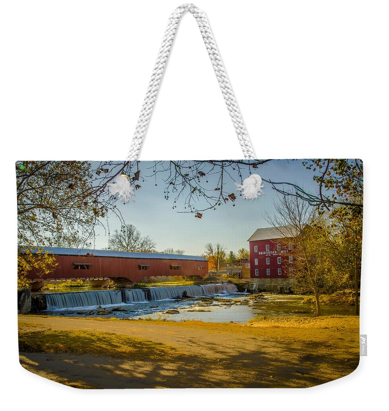 Old Weekender Tote Bag featuring the photograph Bridgeton Mill Covered Bridge by Jack R Perry