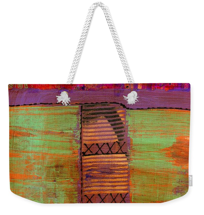 Vibrant Weekender Tote Bag featuring the mixed media Bridging The Gap II by Angela L Walker