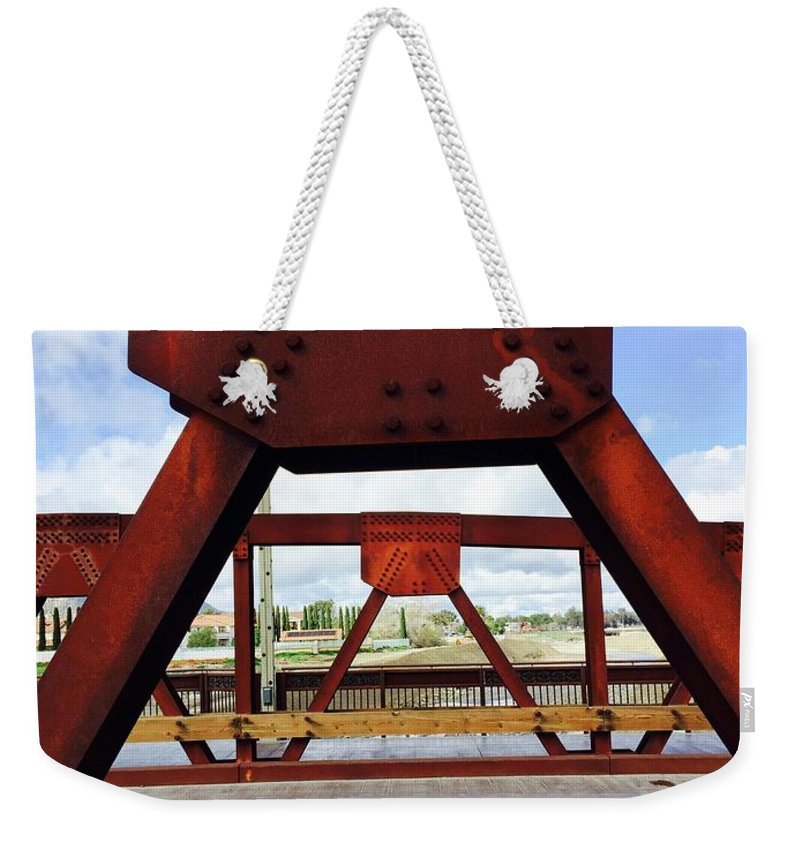 Bridge Gap Rust Steel Iron Girder Truss River Old Town Temecula California Build Rebuild Repair Road Link Connection Weekender Tote Bag featuring the photograph Bridging The Gap by Russell Keating