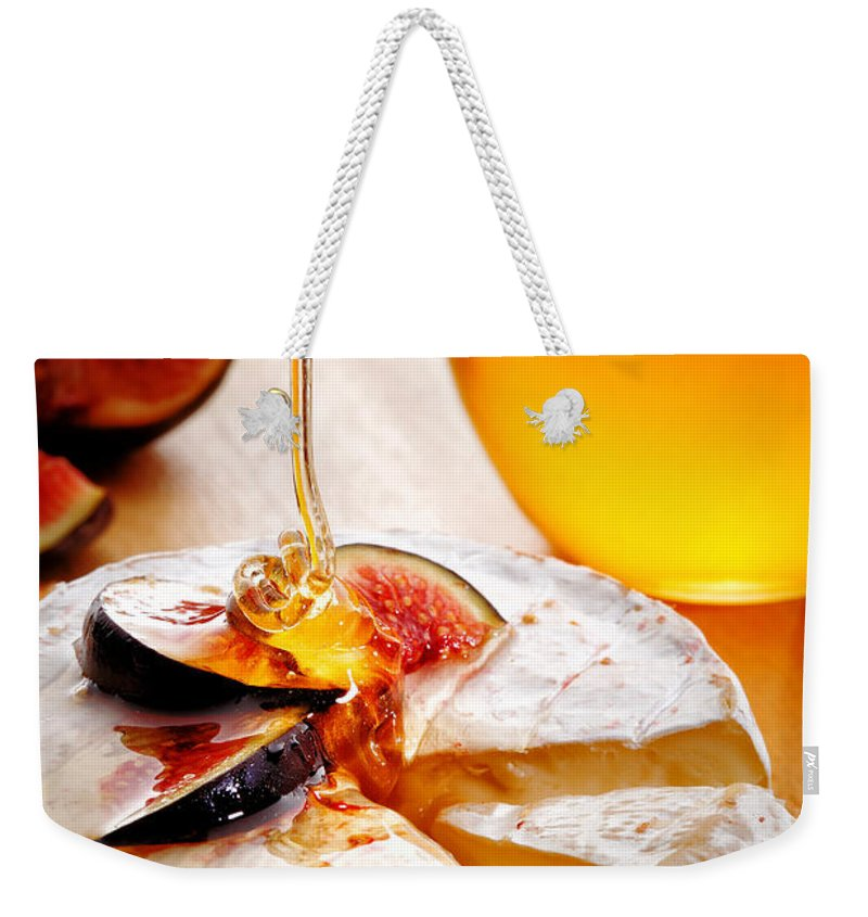Brie Weekender Tote Bag featuring the photograph Brie Cheese With Figs And Honey by Johan Swanepoel