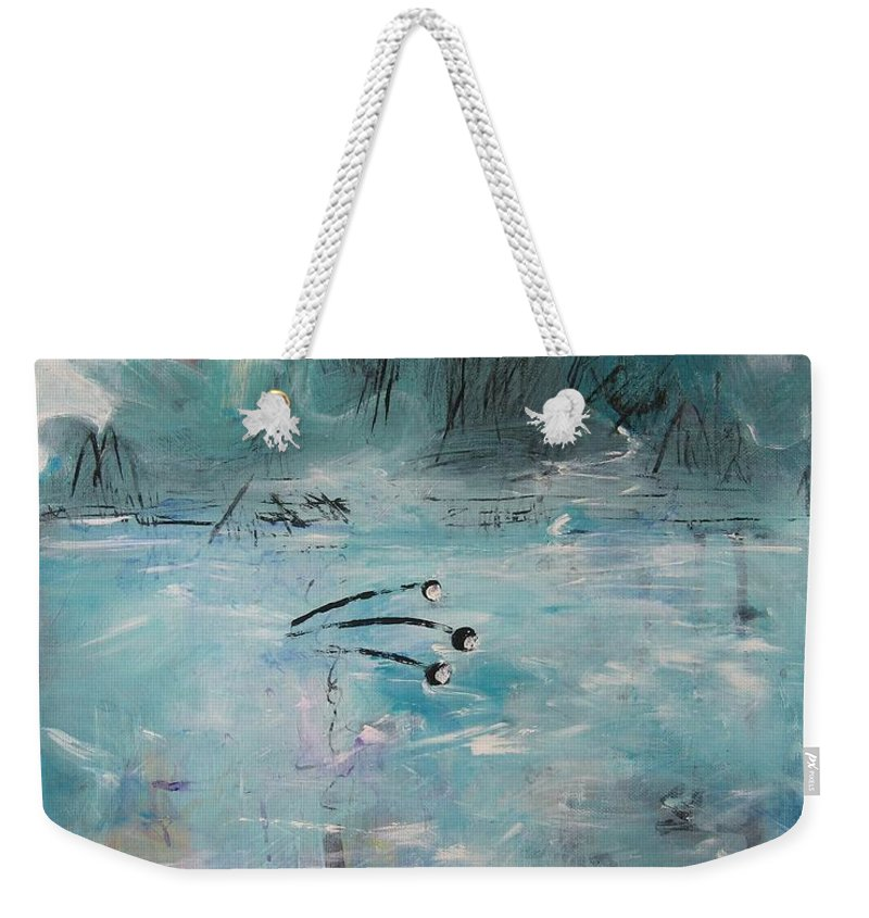 Abstract Paintings Weekender Tote Bag featuring the painting Brierly Beach by Seon-Jeong Kim