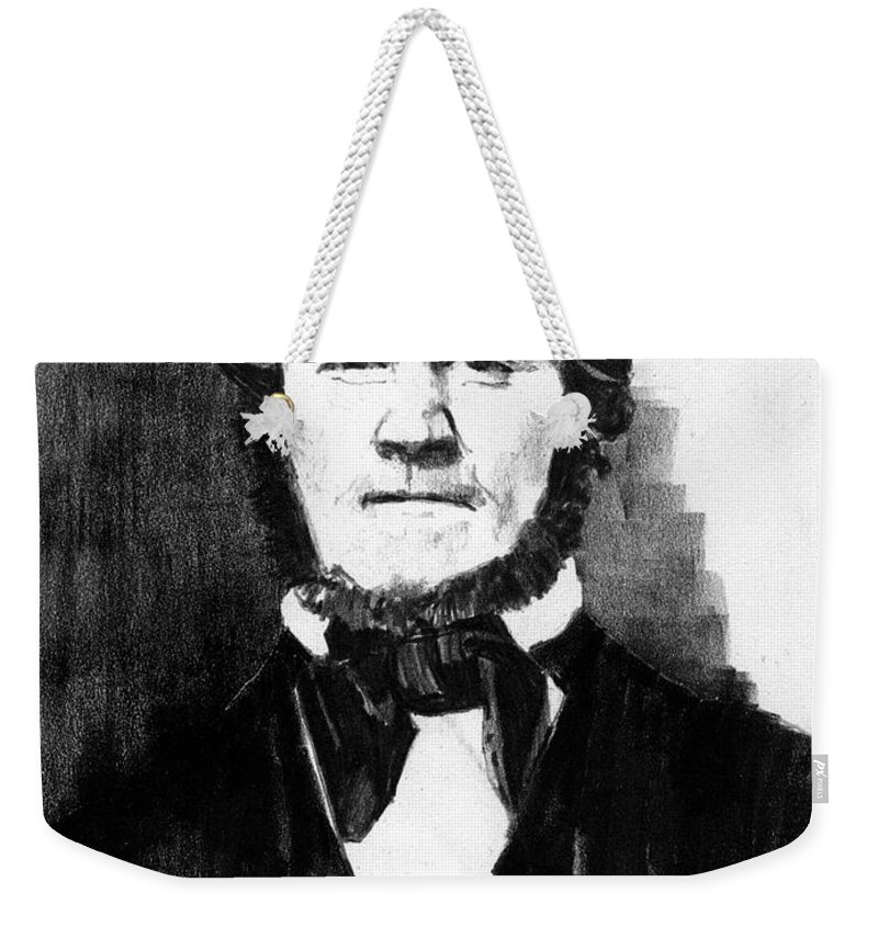 Men Weekender Tote Bag featuring the drawing Brigham Young by Paul Sachtleben