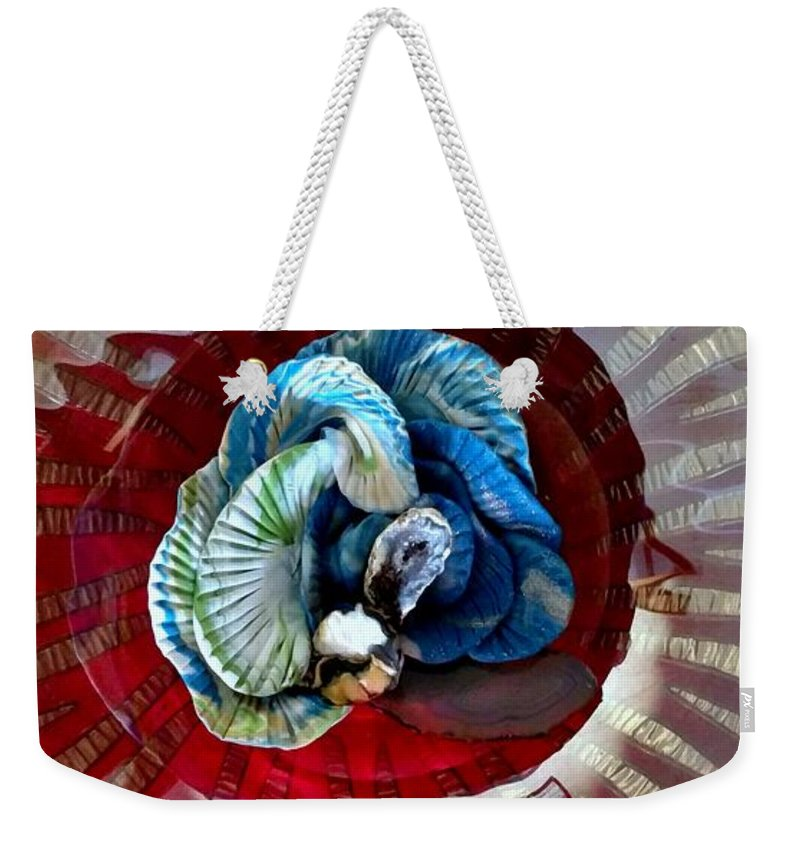 No Maintenance Aquariumn Blue Green Red Yellow Gold Silver Abstract Created Flower Coral Imagery Animated Aquatic Flower Color Colorful Eye-catching Abstract Created Coral Weekender Tote Bag featuring the mixed media Bright Blue Coral Flower by Kirk Wieland