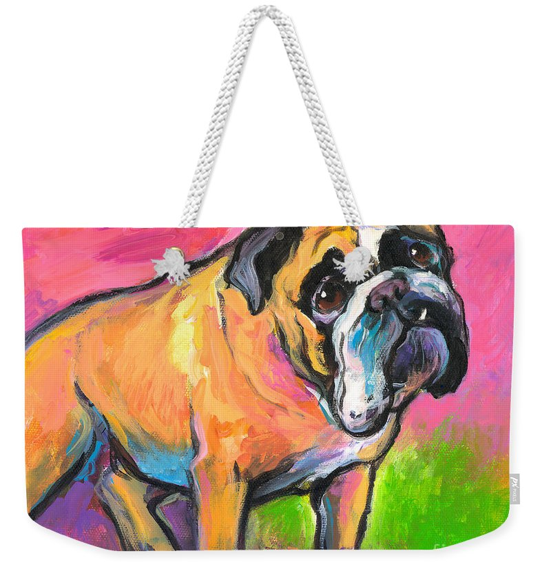 Bulldog Painting Weekender Tote Bag featuring the painting Bright Bulldog Portrait Painting by Svetlana Novikova