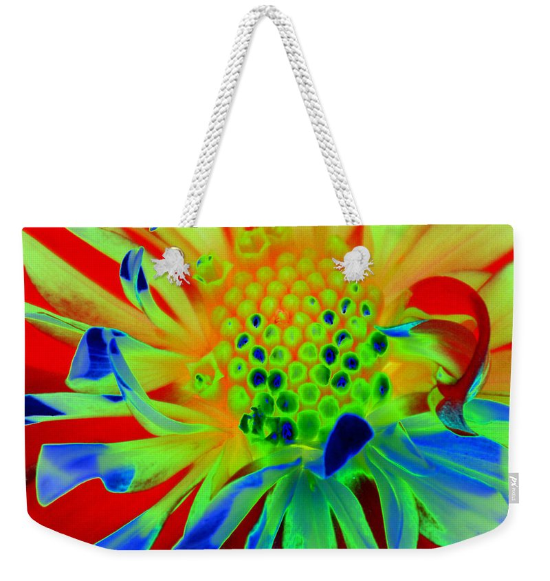 Diane Berry Weekender Tote Bag featuring the painting Bright Flower by Diane E Berry