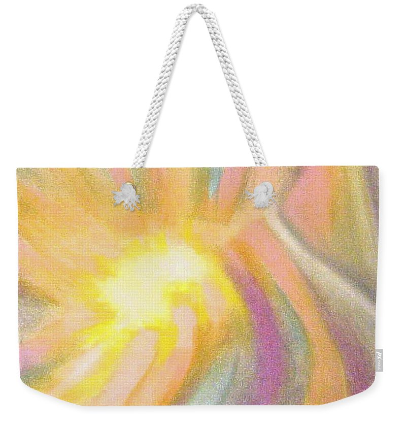 Pastel Drawing Colors Abstract Weekender Tote Bag featuring the drawing Bright Light Flight by Jan Gilmore