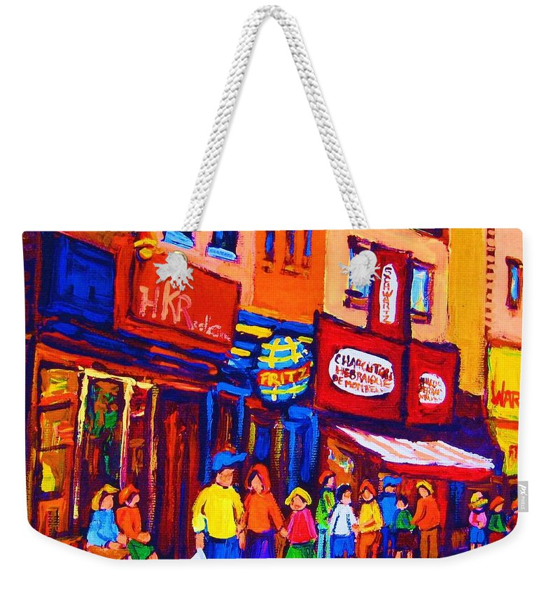 Schwartz's Hebrew Deli Weekender Tote Bag featuring the painting Bright Lights On The Main by Carole Spandau