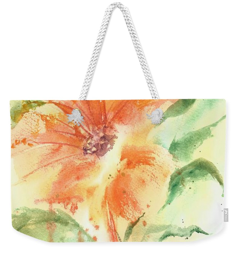 Orange Flower With Yellow Background Weekender Tote Bag featuring the painting Bright Orange Flower by Debbie Lewis