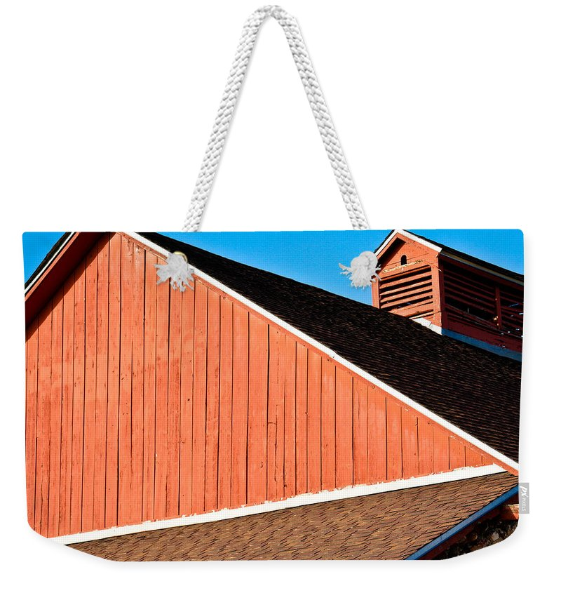 Americana Weekender Tote Bag featuring the photograph Bright Red Barn by Marilyn Hunt