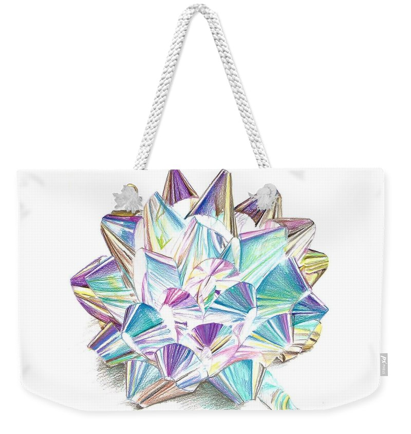 Bow Weekender Tote Bag featuring the drawing Bright Ribbon by K M Pawelec