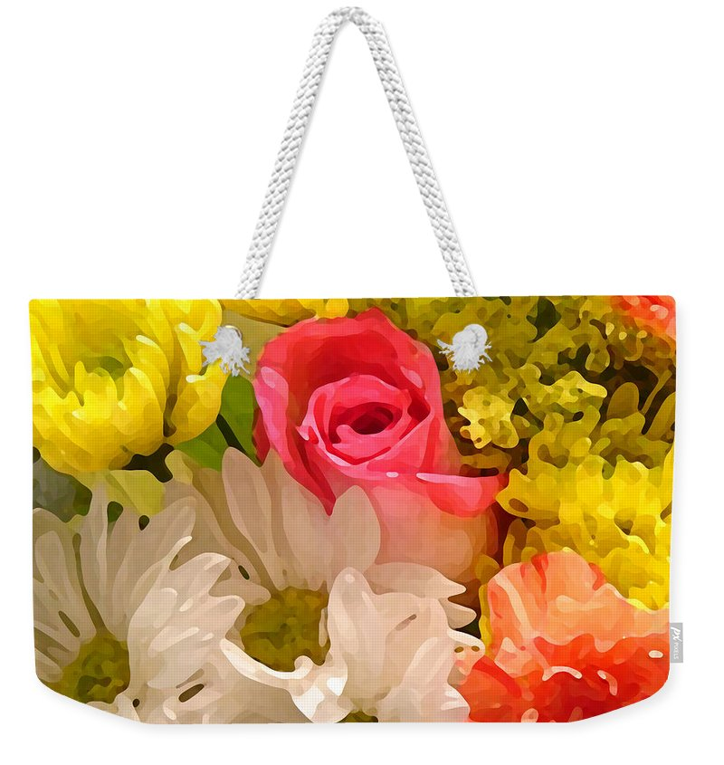 Floral Weekender Tote Bag featuring the painting Bright Spring Flowers by Amy Vangsgard