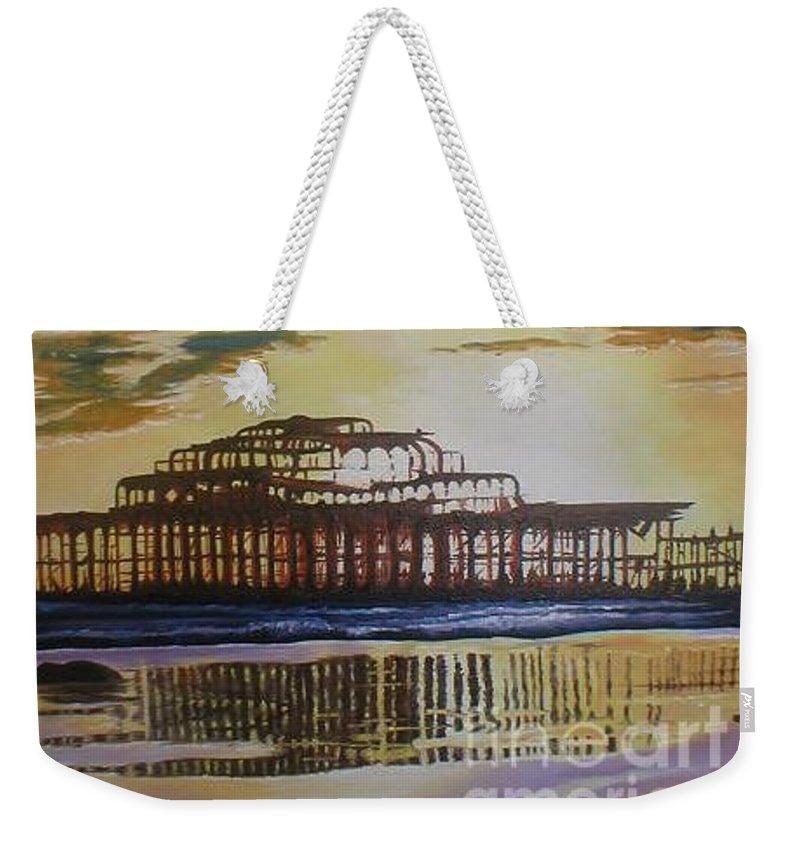 Brighton West Pier Derelict Victorian Sad Beach Sand Sunset Weekender Tote Bag featuring the painting Brighton West Pier by Pauline Sharp