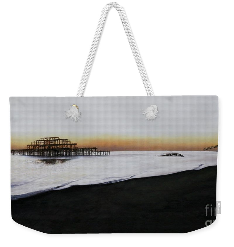 Oil Weekender Tote Bag featuring the painting Brighton West Pier-tranquil Sunset by Pauline Sharp