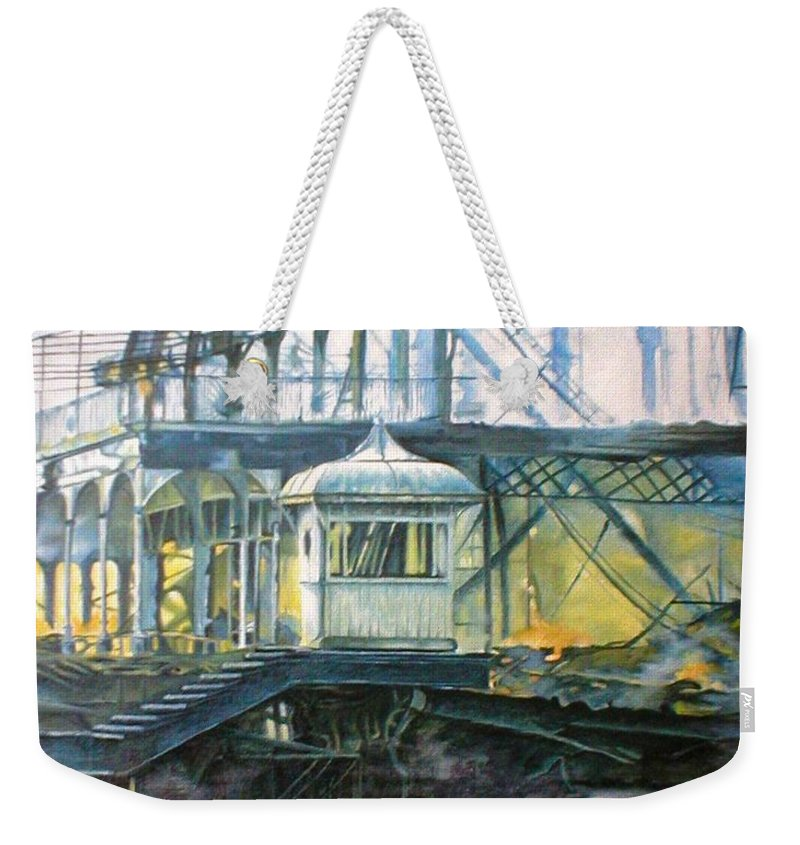 Brighton West Pier Fire Flames Escape Smoke Hut Survivor Arson Weekender Tote Bag featuring the painting Brighton's West Pier-lone Survivor by Pauline Sharp