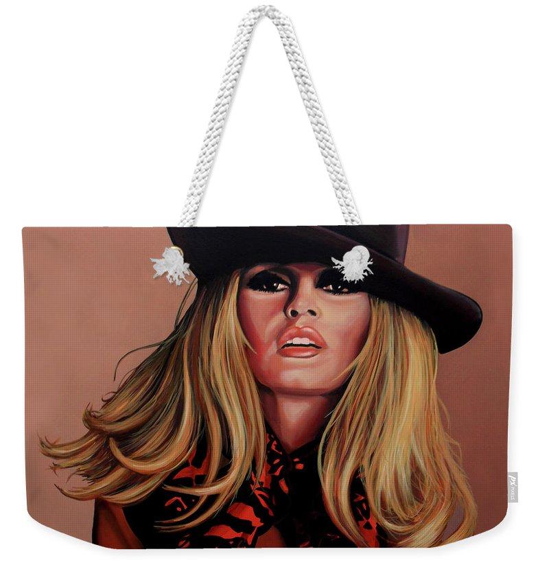 Brigitte Bardot Weekender Tote Bag featuring the painting Brigitte Bardot Painting 1 by Paul Meijering