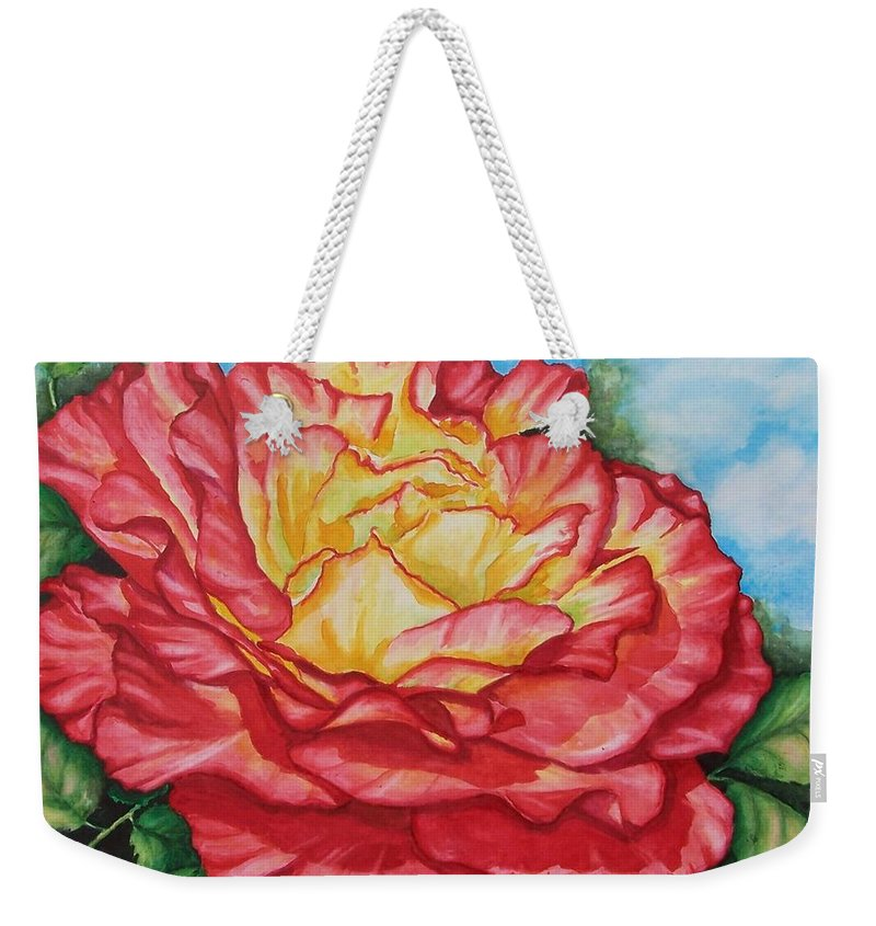 Rose Weekender Tote Bag featuring the painting Brilliant Bloom by Conni Reinecke