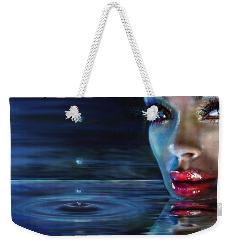 Water Weekender Tote Bag featuring the painting Brilliant Eyes Water by Angie Braun