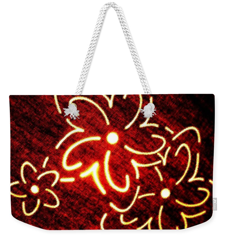 Abstract Weekender Tote Bag featuring the digital art Brilliant Floral Abstract by Will Borden