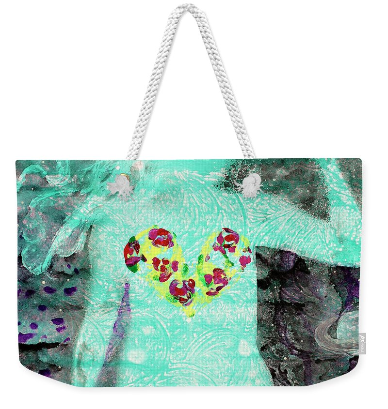 Body Prints Painting Weekender Tote Bag featuring the painting Bring Love To The Universe by April Kasper
