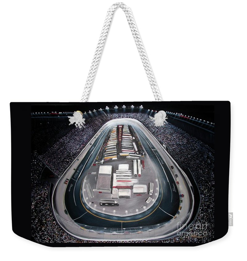 Racing Weekender Tote Bag featuring the painting Bristol Motor Speedway Racing The Way It Ought To Be by Patricia L Davidson