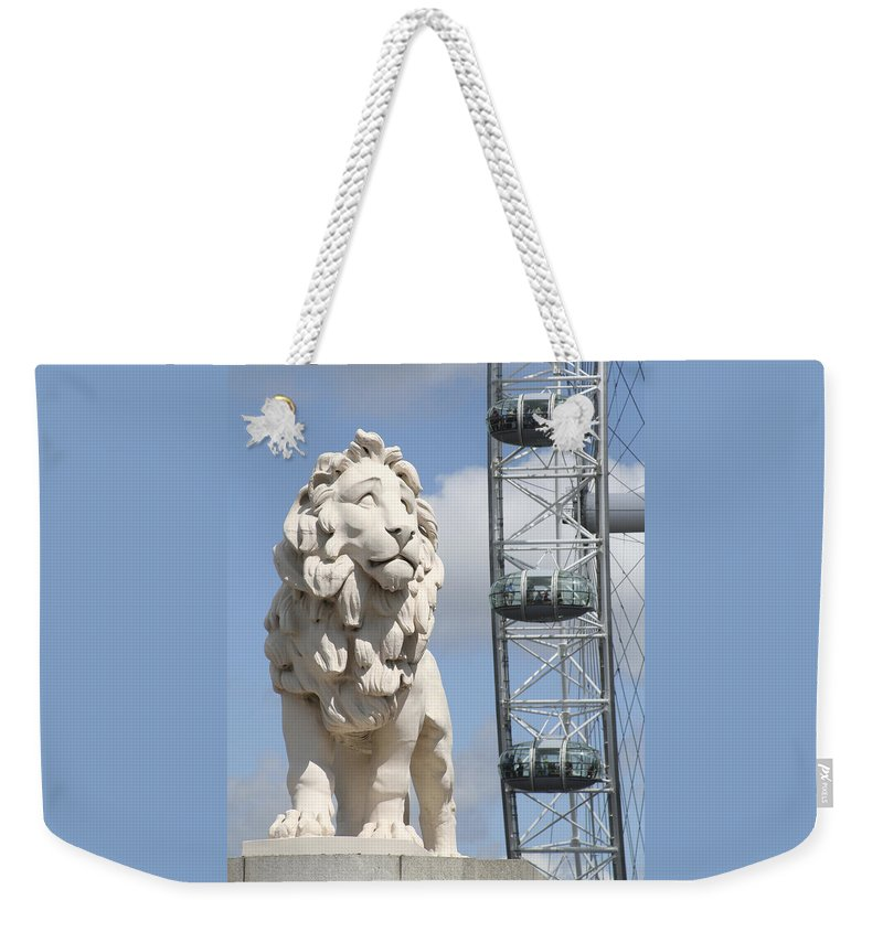 Lion Weekender Tote Bag featuring the photograph Britannia Lion by Margie Wildblood