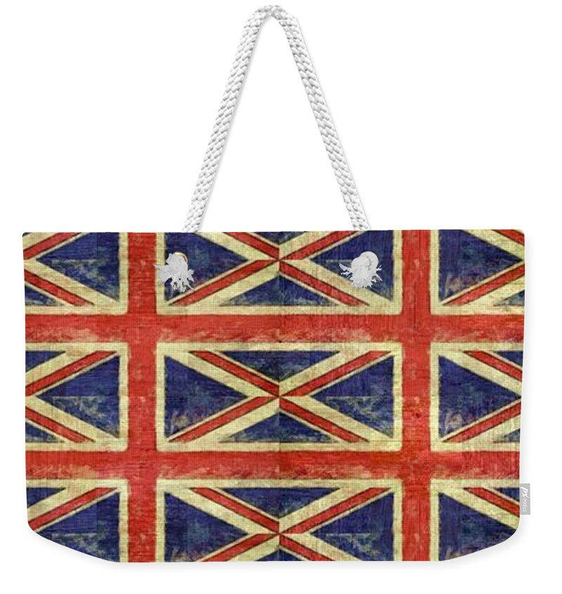 Great Britain Weekender Tote Bag featuring the digital art British Flag Collage One by Michelle Calkins