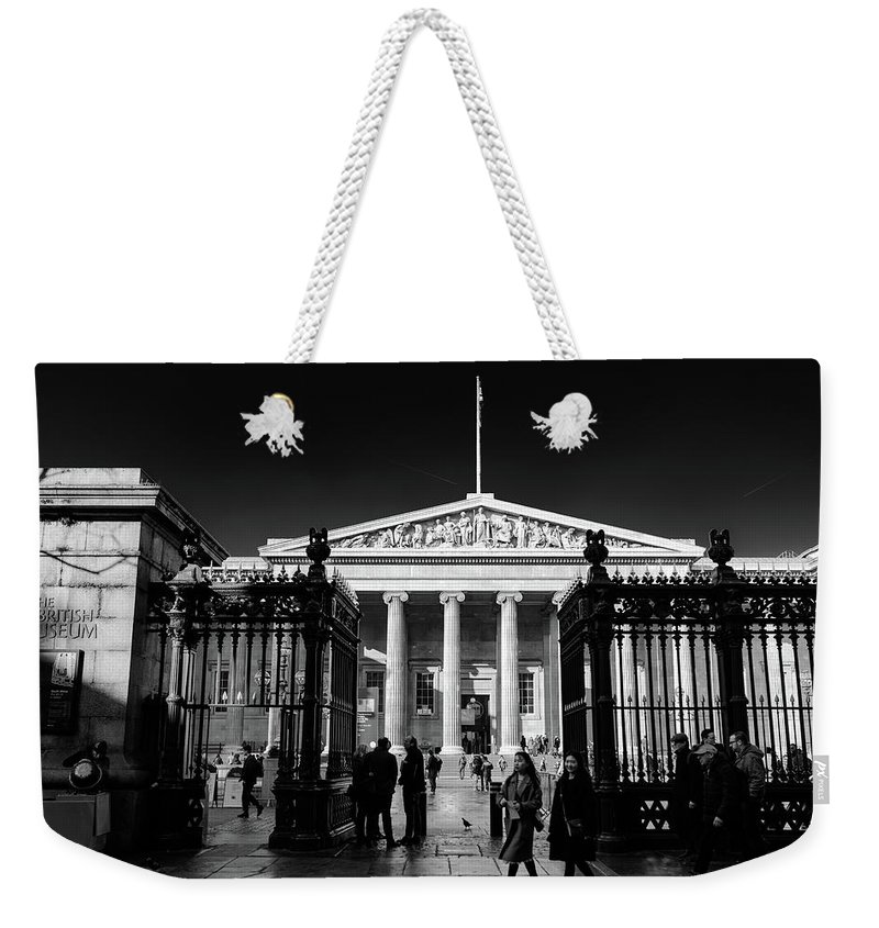 Cityscape London British Museum Landscape Europe England Photography Black & White Artmuseum Weekender Tote Bag featuring the pyrography British Museum by Fotis Panagopoulos