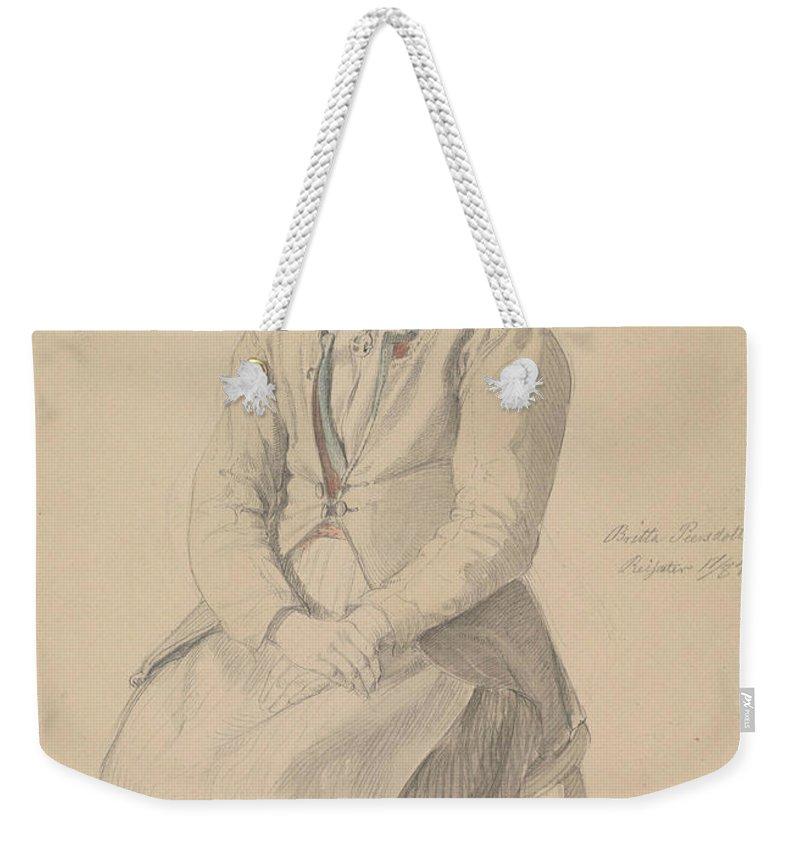 Norwegian Art Weekender Tote Bag featuring the drawing Britta Peersdotter Reisaer, Ullensvang by Adolph Tidemand