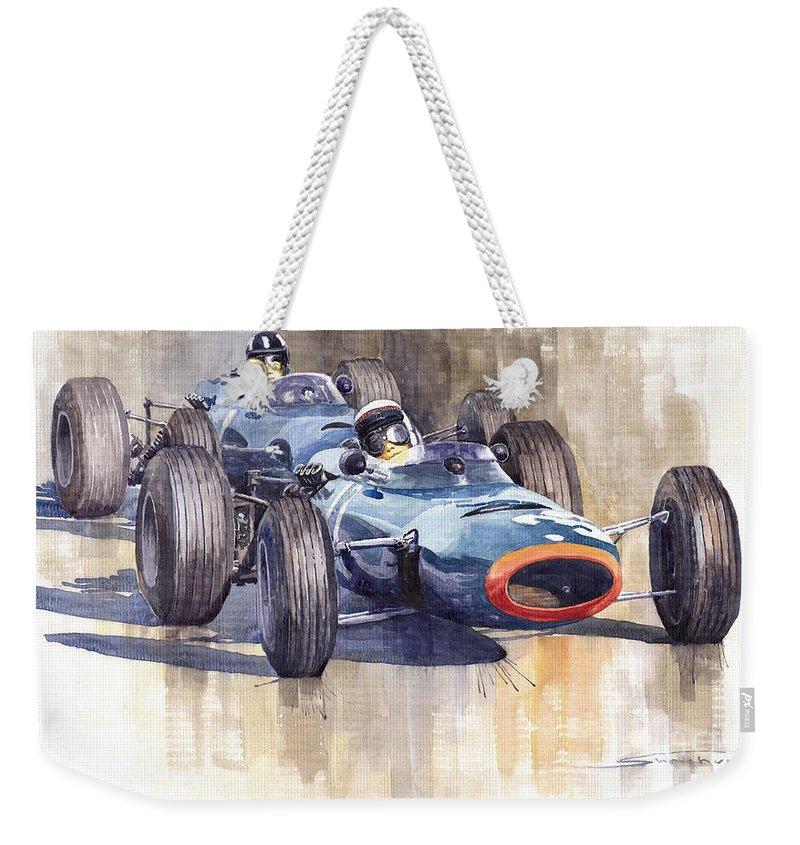 Watercolour Weekender Tote Bag featuring the painting Brm P261 1965 Italian Gp Stewart Hill by Yuriy Shevchuk