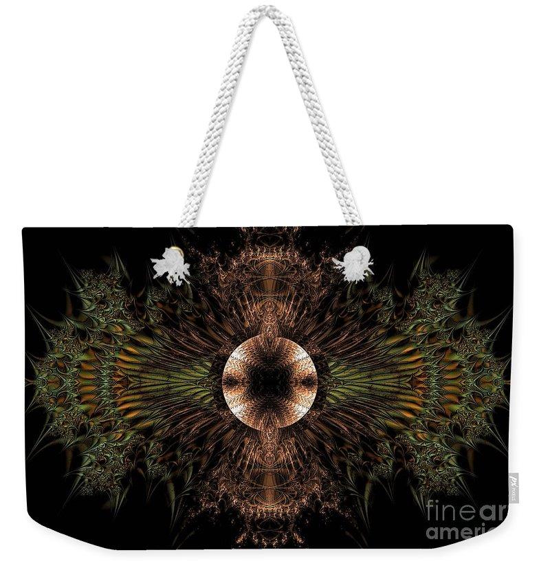 Broach Of Dried Leaves / Warm Weekender Tote Bag featuring the digital art Broach Of Dried Leaves / Warm by Elizabeth McTaggart