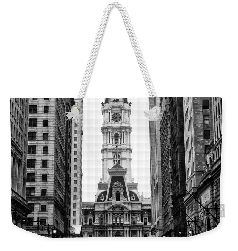 Broad Street At City Hall Weekender Tote Bag featuring the photograph Broad Street At City Hall by Bill Cannon
