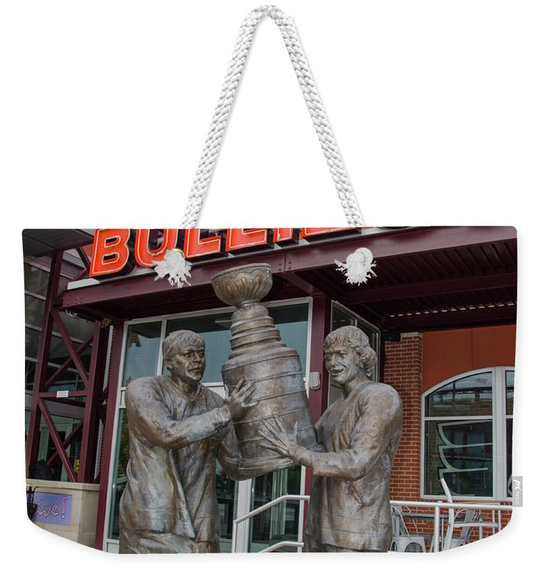 Broad Weekender Tote Bag featuring the photograph Broad Street Bullies Pub - Clarke And Parant by Bill Cannon