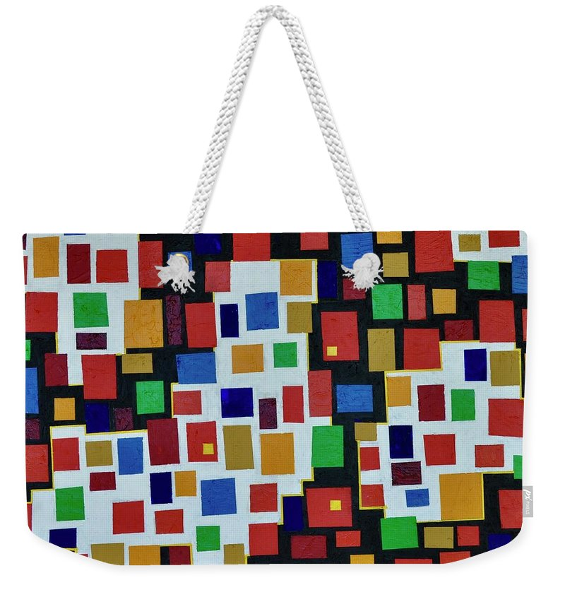 Abstract Weekender Tote Bag featuring the painting Broadway Lights by Roger Kipp