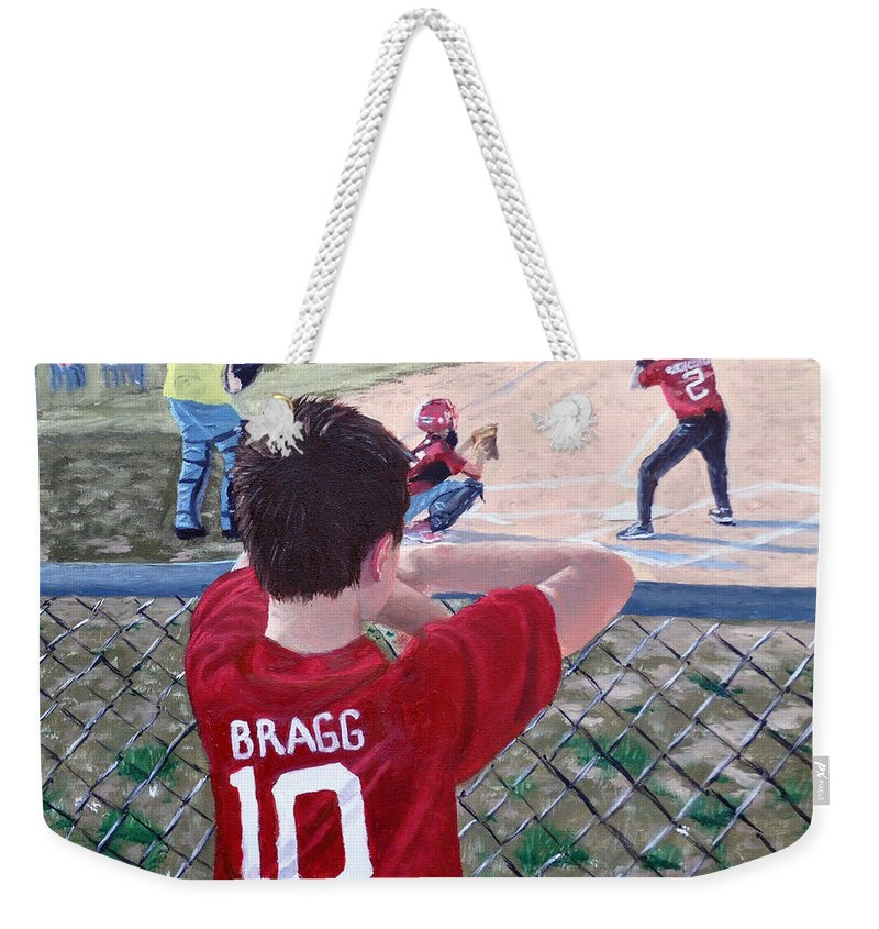 Child Weekender Tote Bag featuring the painting Brock by Stan Hamilton