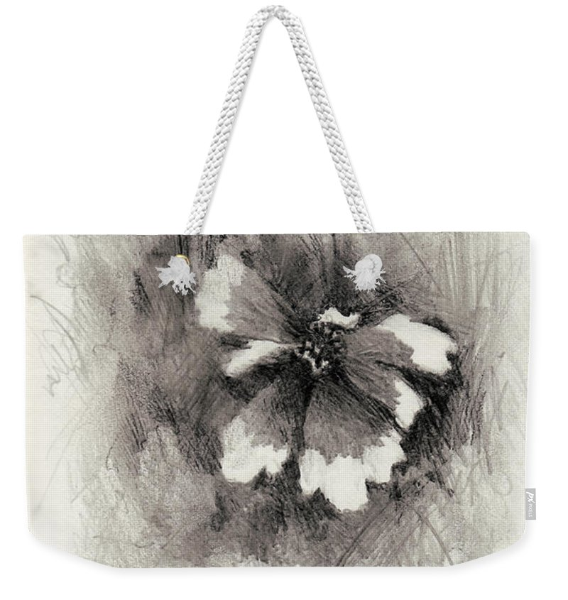 Nature Weekender Tote Bag featuring the drawing Broken Blossom by Rachel Christine Nowicki